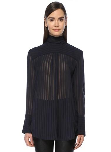 Çizgili Transparan Tül Bluz-Nineminutes